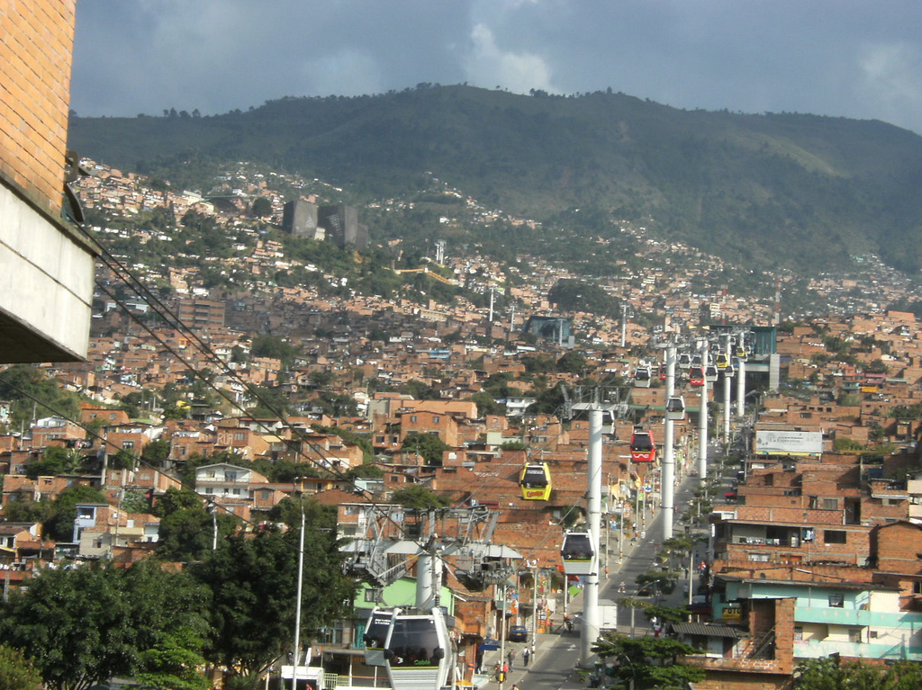 Medellin's Metrocable connects residents of the poor hillside barrios to the rest of the city, a job conventional transit can't do.  Photo: joshuaheller.