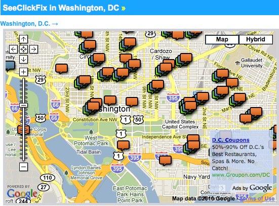 A screenshot of the SeeClickFix widget on TheCityFix DC.