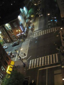 A new Barnes Dance crosswalk at the intersection of 7th and H Streets NW in D.C. Diagonal lines help guide pedestrians. Photo via wtop.com.