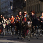 Cyclists ride in Copenhagen