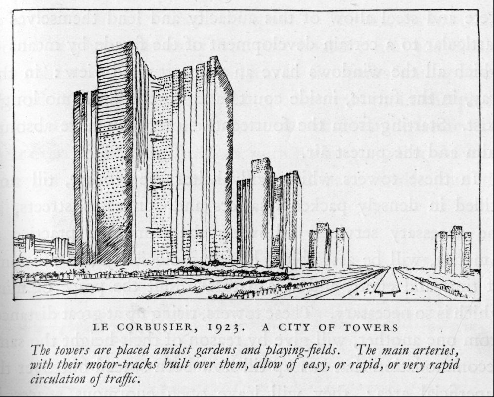 """""""A City of Towers."""" Sketch by Le Corbusier."""