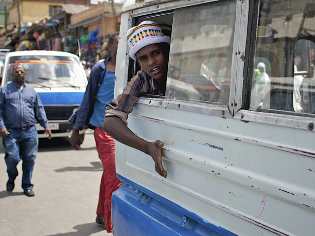 Taxi bus in Addis Ababa, Ethiopia. Photo by Overseas Development Institute/Flickr.