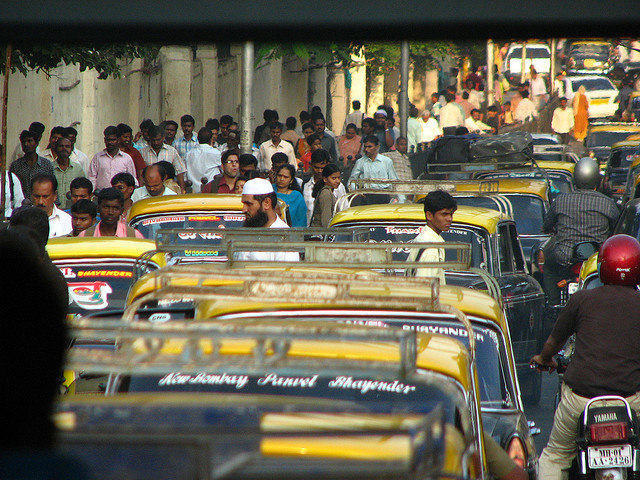 Groups like the Seatbelt Crew combine education and entertainment to get automobile drivers on Mumbai, India's crowded roads to buckle-up. Photo by Jerry H./Flickr.