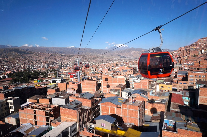The teleférico is an important new asset for sustainable mobility in the La Paz/El Alto Metropolitan area. Photo by Gwen Kash.