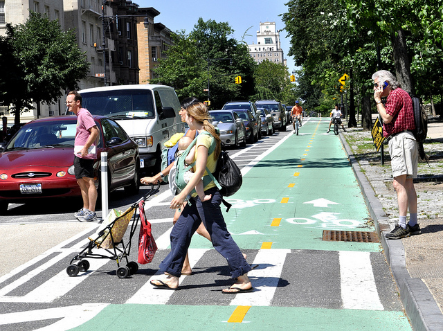 New York City leaders have begun implementing a Vision Zero policy in the city, which has helped to create separated bike lanes and greater traffic speed enforcement to decrease road fatalities. Photo by the New York City Department of Transportation/Flickr.