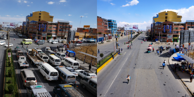 Bolivia's fourth annual Day of the Pedestrian and Cyclist banned cars from all roads, cutting greenhouse gas emissions and giving pedestrians space for a variety of activities. El Alto's Cruce Viacha, which is full of traffic on a typical weekday (left), is transformed on the Day of the Pedestrian (right). Photos by Gwen Kash.