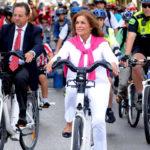Madrid mayor Ana Botella rides her bike
